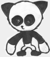 Zeichnung, Skizze, Pandaskulptur, Zeichnungen