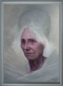 Frau, Portrait, Malerei, Winter