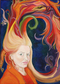 Figural, Haare, Acrylmalerei, Selbstportrait