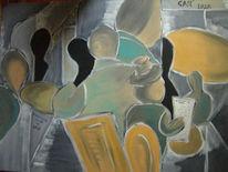 Ölmalerei, Dadaismus, Cafe, Abstrakt