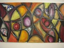 Ölmalerei, Wand, Teufel, Abstrakt