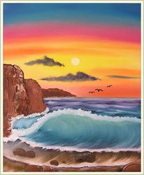 Malerei, Strand, Meer, Landschaft