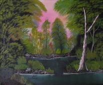 Baum, Malerei, Landschaft, Wald