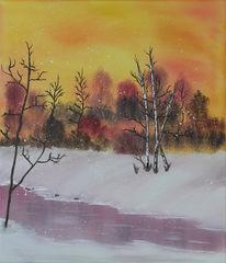 Malerei, Winter, Landschaft, Schnee