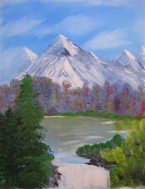 Malerei, Landschaft, See, Berge