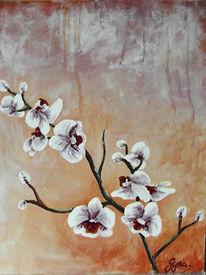 Malerei, Stillleben, Orchidee, Blumen
