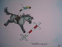 Karikatur, Pferde, Malerei, Pony