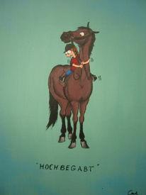 Pferde, Malerei, Karikatur, Pony