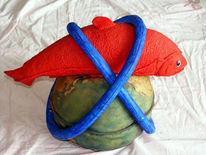 Fisch, Latex, Skulptur, Pigmente