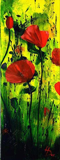 Gelb, Malerei, Abstrakt, Mohn