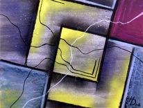 Überlappen, Verbindung, Abstrakt, Malerei