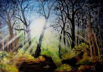 Gegenlicht, Leuchten, Malerei, Landschaft