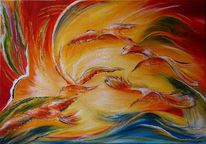 Abstrakt, Vogel, Rot, Gelb