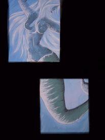 Malerei, Aquarell, Meerjungfrau,