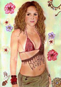 Portrait, Zeichnung, Zeichnungen, Blumen