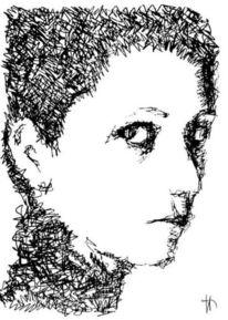 Zeichnung, Kontrast, Blick, Frau
