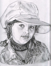 Hut, Portrait, Kind, Mädchen