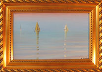 Landschaft, Regatta, Marinemalerei, Segelboot