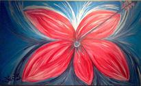 Rot, Blumen, Abstrakt, Malerei
