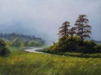 Pastellmalerei, Klassisch, Landschaft, Morgen