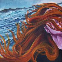 Meer, Malerei, Haare, Frau