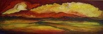 Wolken, Abend, Malerei, Landschaft