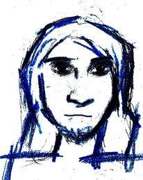 Malerei, Skizze, Blau, Freunde