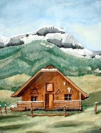 Malerei, Landschaft, Berge, Hütte