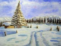 Winter, Hütte, Schnee, Winterlandschaft