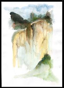 Malerei, Landschaft, Steilküste