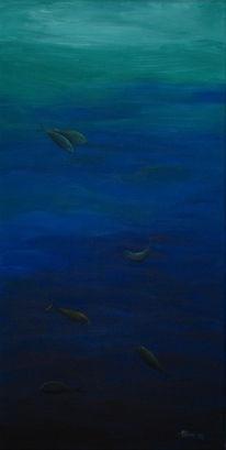 Treiben, Meer, Blau, Malerei