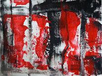 Acrylmalerei, Mischtechnik, Rot, Spachtel