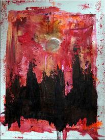 Malerei, Acrylmalerei, Spachtel, Sprühen