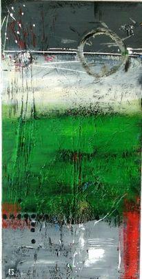Wiese, Acrylmalerei, Stillleben, Grün golf