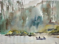 Angler, Boot, Wald, Aquarell