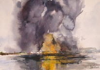 Brand, Hafen, Industrie, Aquarell