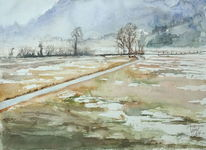Moor kochel winter, Aquarell