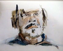 Mann, Bart, Portrait, Aquarell