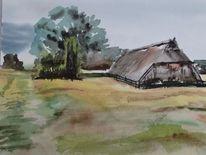 Scheune lüneburger heide, Aquarell, Heide, Scheune