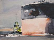 Schlepper, Hafen, Bulk carrier, Meer