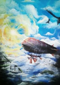 Wolken, Gondel, Segel, Blau