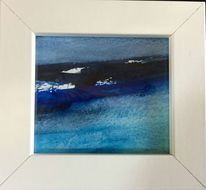 Aquarellmalerei, Weiß, Blau, Grau