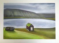Landschaft, Grün, See, Hütte