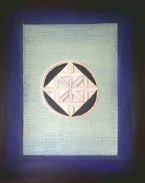 Kreis, Quadrat, Blau, Acrylmalerei