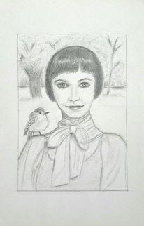 Gast, Bleistiftzeichnung, Frau, Wald