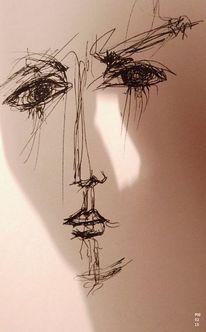 Blick, Wimpern, Licht, Skizze
