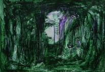 Fantasie, Gesicht, Wald, Malerei
