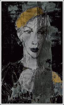 Schleier, Portrait, Gelb, Schwarzweiß