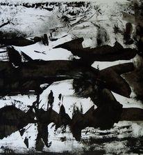 Winterlandschaft, Schwarz weiß, Winter, Malerei