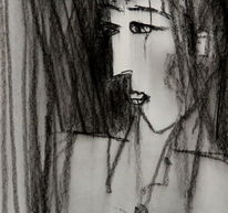 Kohlezeichnung, Ausdruck, Gedanken, Portrait